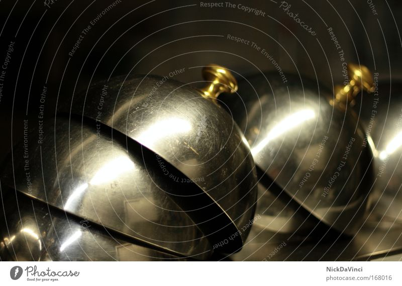 Pawlow'sche Glocke Ernährung Stil Feste & Feiern Metall Gold elegant gold Gastronomie Restaurant Geschirr Reichtum Appetit & Hunger Teller silber Festessen Abendessen