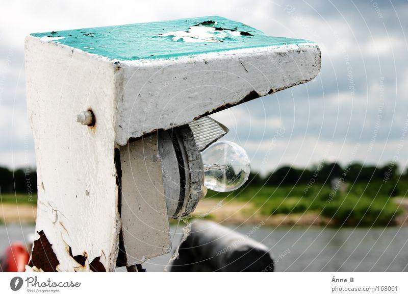 Nebelleuchte, das Elbufer betrachtend (auf der Fähre) blau weiß grün Zufriedenheit Glas Verkehr authentisch Fluss Vergänglichkeit Gelassenheit Verkehrswege trashig Flussufer Glühbirne Fähre Fortschritt