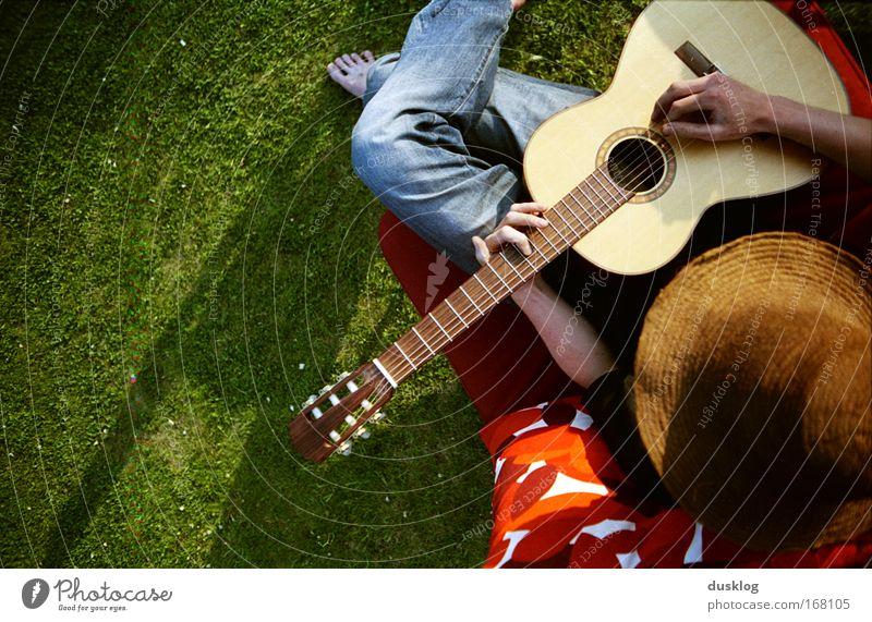 Finn Mensch Sonne Sommer Freude ruhig Erholung Wiese Holz träumen Musik Freizeit & Hobby Insel frei maskulin Coolness