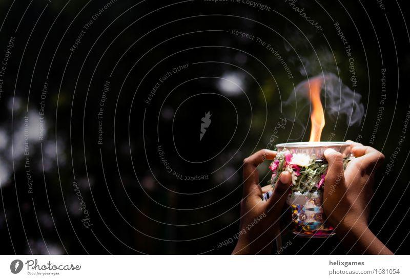 Feuer im Dunkeln Tourismus Feste & Feiern Religion & Glaube Hinduismus Madurai Shiva Stadtfest Flamme Hinduismusurlaub Indien Angebot Südindien Tamil Nadu