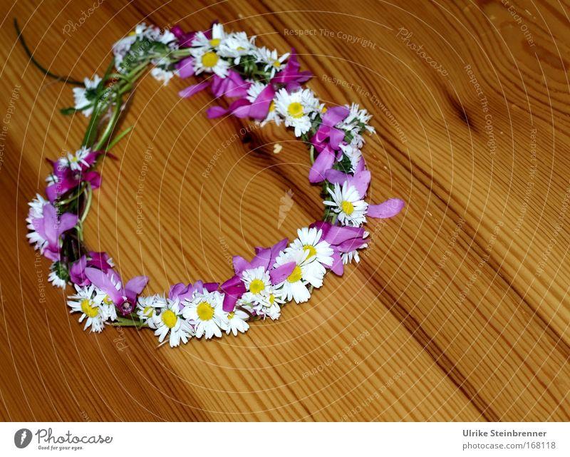 Blütenkränzchen Natur Pflanze weiß Freude Frühling Gefühle frisch Kindheit Geburtstag Geschenk Romantik Schnur violett Duft Basteln