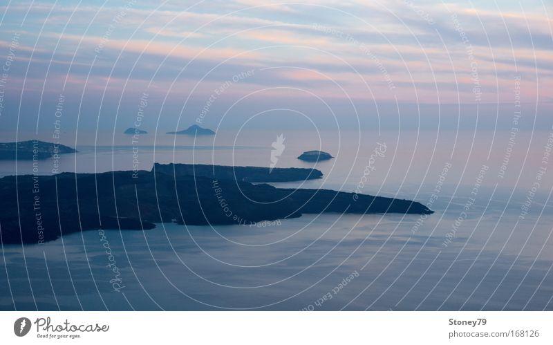 Inseln zu blauer Stunde Himmel Wasser Meer ruhig Einsamkeit Ferne Landschaft Freiheit Stimmung Zufriedenheit rosa Romantik Unendlichkeit Frieden