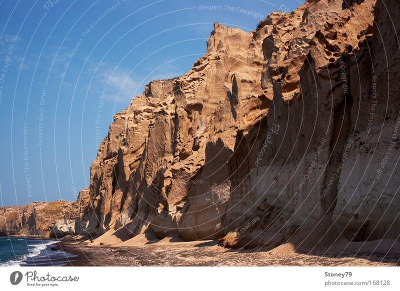 Vlichada Beach Himmel Wasser blau Sonne Strand Meer ruhig Einsamkeit Landschaft Sand Küste braun Wellen Kraft hoch Felsen