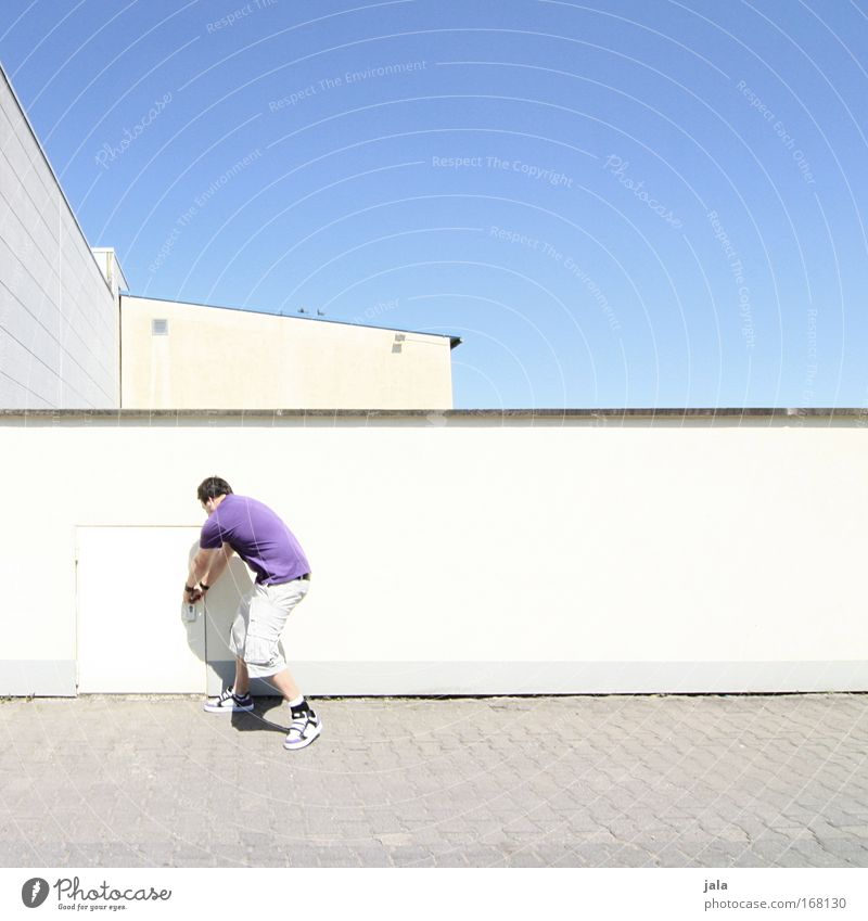 [PC-Usertreff Ffm]: Streetart Farbfoto Außenaufnahme Textfreiraum oben Tag Licht Sonnenlicht Ganzkörperaufnahme Rückansicht Mensch maskulin Mann Erwachsene 1
