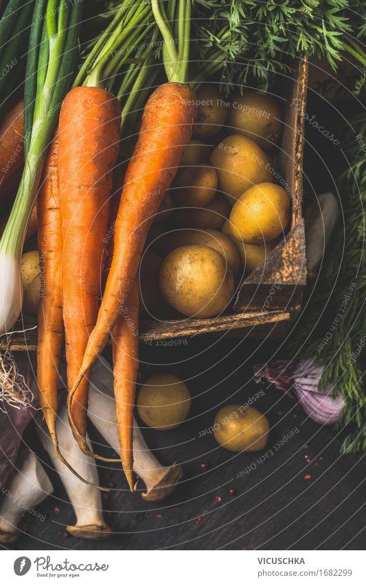 Bio Gemüse für gesundes Kochen Natur Gesunde Ernährung Foodfotografie Essen Leben Gesundheit Stil Lebensmittel Design Tisch Küche Bioprodukte Pilz