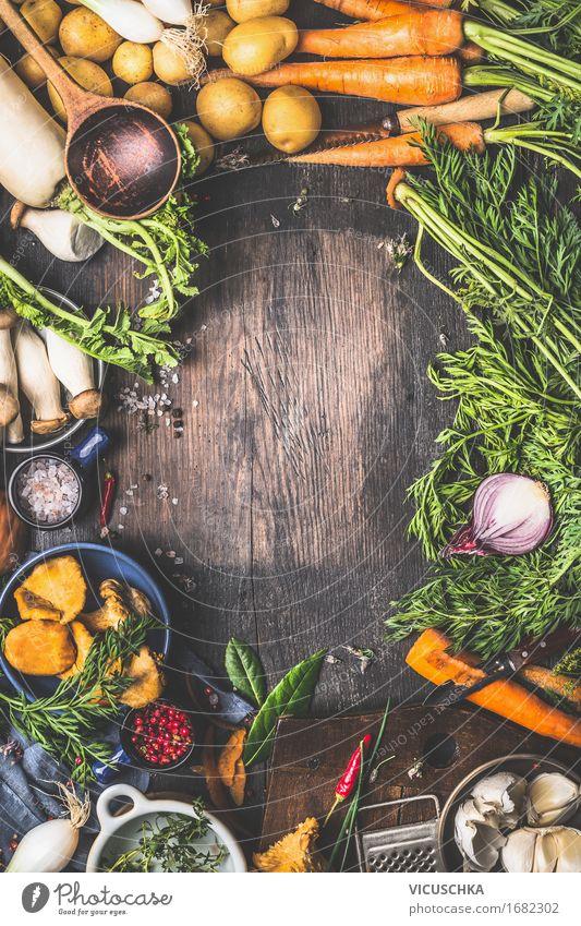 Vegetarische Zutaten fürs Kochen Gesunde Ernährung Leben Foodfotografie Herbst Stil Design Tisch Kochen & Garen & Backen Kräuter & Gewürze Küche Gemüse