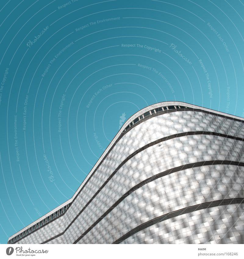 A380 blau Architektur Gebäude Metall Linie Kunst Fassade glänzend Design Lifestyle Industrie retro Güterverkehr & Logistik Dienstleistungsgewerbe Leipzig Wirtschaft