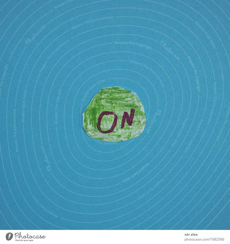 ONLINE Zeichen Schriftzeichen blau grün kaufen Handel aktivieren online Beginn Farbfoto mehrfarbig Innenaufnahme Menschenleer Textfreiraum links