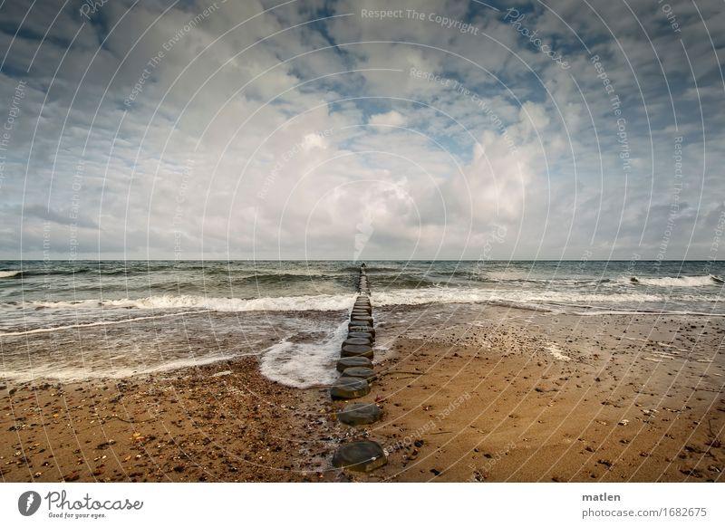 in motion Natur Landschaft Wasser Himmel Wolken Horizont Frühling Schönes Wetter Wind Wellen Küste Strand Ostsee Menschenleer blau braun grau grün weiß Bewegung