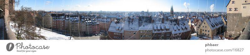 Nürnberg Himmel alt blau Winter Schnee groß historisch Burg oder Schloss Panorama (Bildformat) Altstadt König Bratwurst Sandstein Bayern breit Backwaren