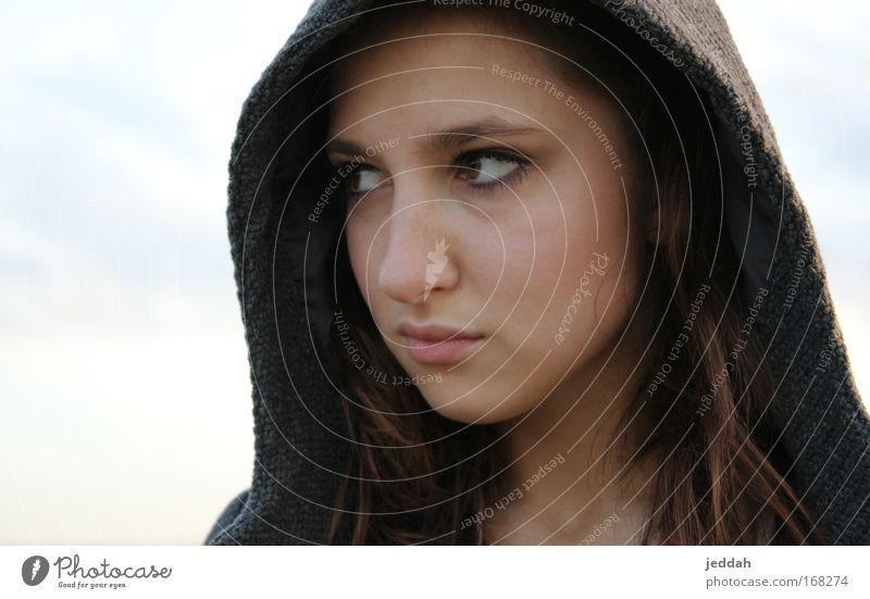 superwoman Mensch Himmel Jugendliche Wolken Gesicht Erwachsene Auge Leben Landschaft feminin Wege & Pfade Kopf Luft Horizont Feld Haut