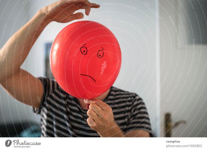 trauriger Ballon schön Gesundheit Arbeitsplatz Business Karriere Mann Erwachsene Gesicht Spielzeug Zeichen Gefühle Stimmung Traurigkeit Sorge Trauer Stress