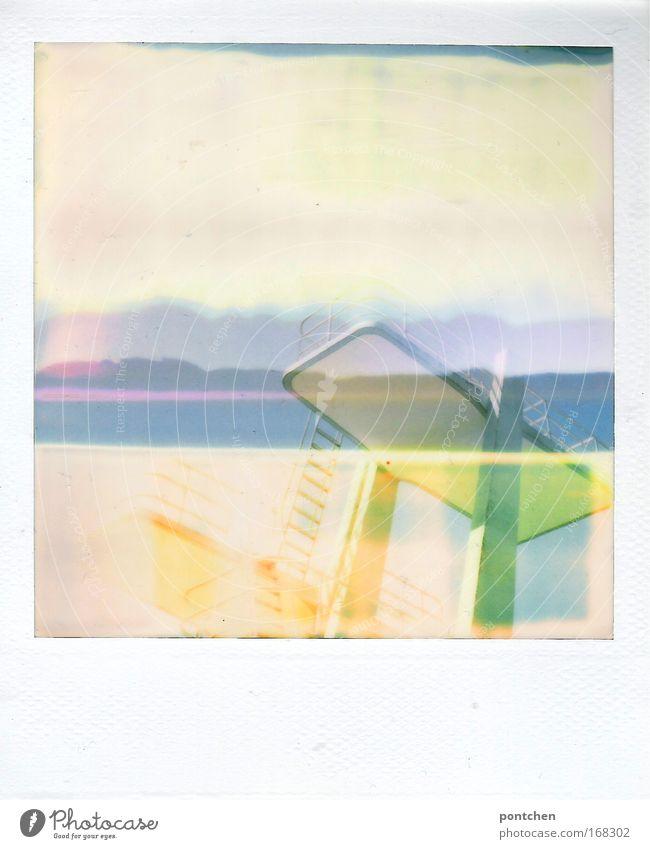 Sprungturm IV Freude Polaroid Ferien & Urlaub & Reisen Sport Freizeit & Hobby Ausflug Tourismus Schwimmbad außergewöhnlich Doppelbelichtung abstrakt