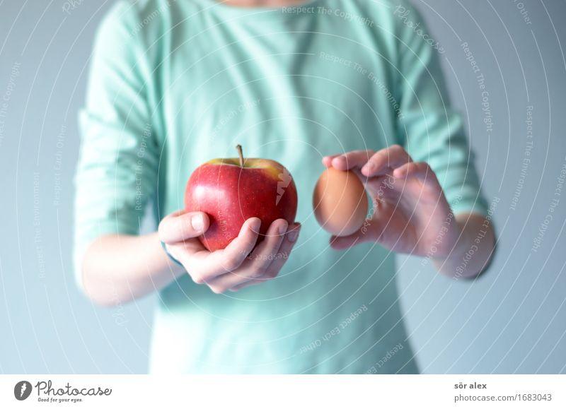 Apfel mit Ei vergleichen Mensch Kind Mädchen feminin Lebensmittel Kindheit kaufen festhalten 8-13 Jahre Dienstleistungsgewerbe Wirtschaft Handel verkaufen