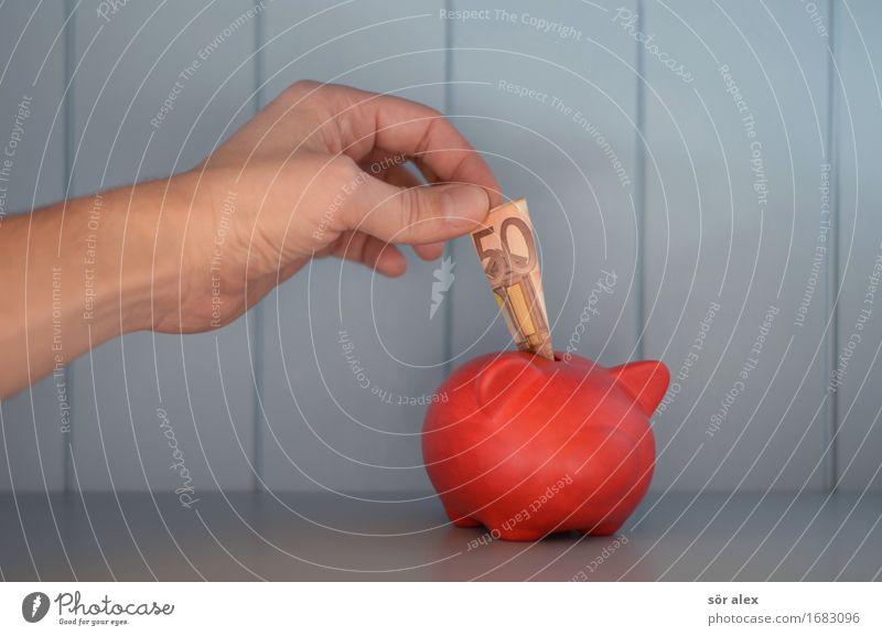 Konsumentscheidung Wirtschaft Handel Kapitalwirtschaft Börse Geldinstitut Business Unternehmen Geldscheine Spardose Ziffern & Zahlen blau rot kaufen Reichtum