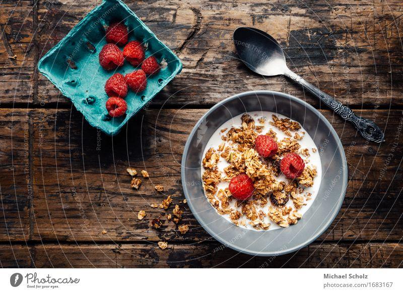 Frühstücksflocken Gesunde Ernährung Tisch Koch Holz Diät Essen Fitness Fressen füttern lecker Zerealien Lebensmittel Hipster melken Himbeeren Dessert Milch