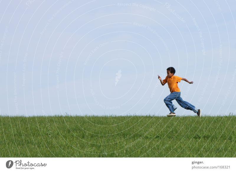 Anlauf nehmen Mensch Kind Himmel Natur Jugendliche blau grün Pflanze Umwelt Landschaft Wiese Junge Gras Bewegung Frühling Luft