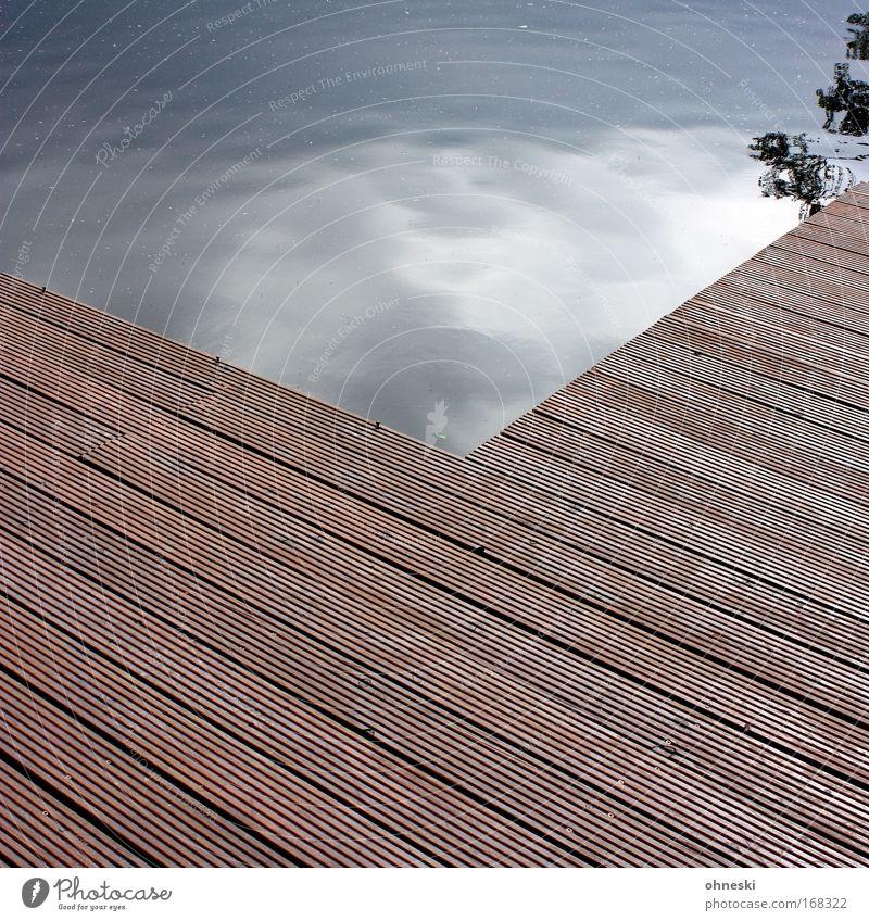 Steg Wasser Himmel Baum ruhig Wolken Holz See bedrohlich Ast Teich beweglich Ordnung Paneele Ordnungsliebe