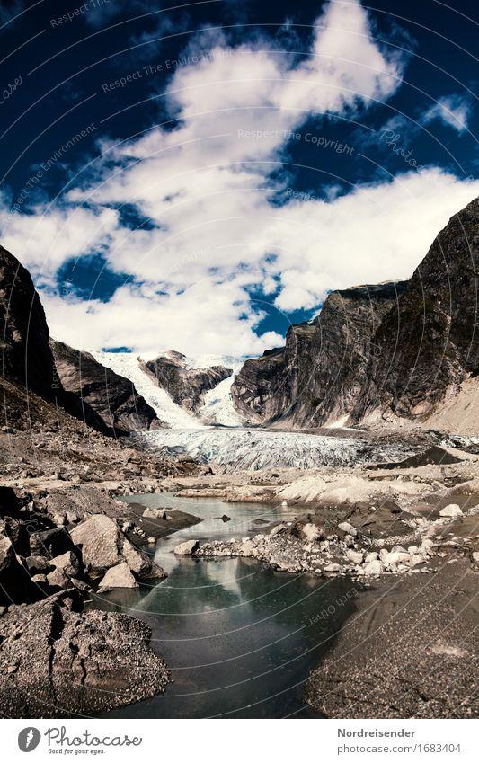Austerdalsbreen Himmel Natur Ferien & Urlaub & Reisen Wasser Landschaft Einsamkeit Wolken Ferne Berge u. Gebirge Stein Felsen Luft Eis Klima Vergänglichkeit