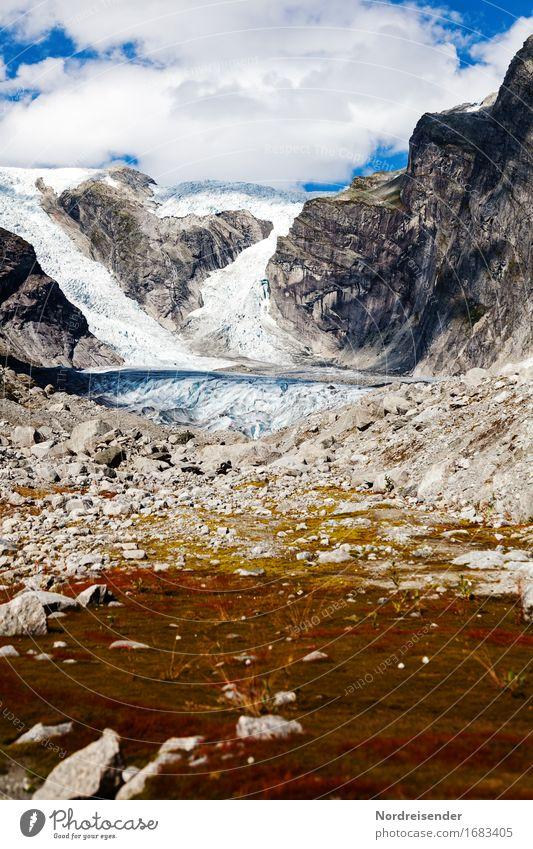 Austerdalsbreen Himmel Natur Ferien & Urlaub & Reisen Wasser Landschaft Einsamkeit Wolken ruhig Ferne Berge u. Gebirge Felsen Eis wandern Klima Schönes Wetter
