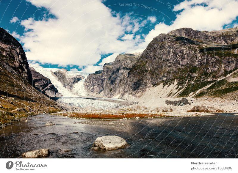 Austerdalsbreen Himmel Natur Ferien & Urlaub & Reisen Wasser Landschaft Wolken Ferne Berge u. Gebirge Stein Stimmung Felsen wandern Klima Schönes Wetter