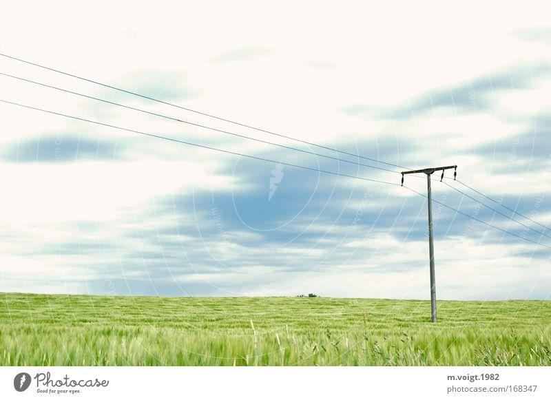 Einfach nur Gegend Natur Himmel grün blau Wolken Ferne kalt Frühling Feld Umwelt Horizont Energiewirtschaft ästhetisch Getreide Idylle Elektrizität