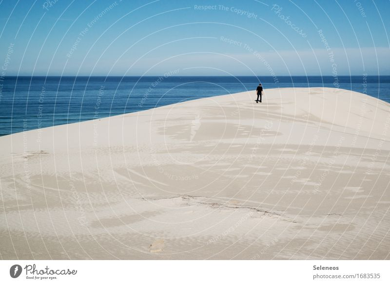 Ruhe Mensch Himmel Natur Ferien & Urlaub & Reisen Sommer Sonne Meer Landschaft Erholung ruhig Strand Ferne Umwelt Freiheit Sand Horizont