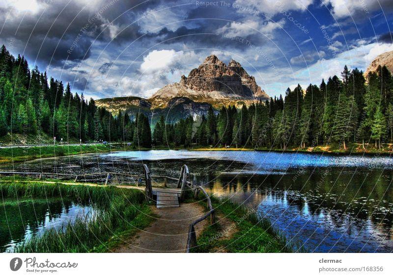 der steg Farbfoto Außenaufnahme Panorama (Aussicht) Blick nach vorn Umwelt Natur Landschaft Wasser Himmel Wolken Sommer Wald Felsen Alpen Berge u. Gebirge