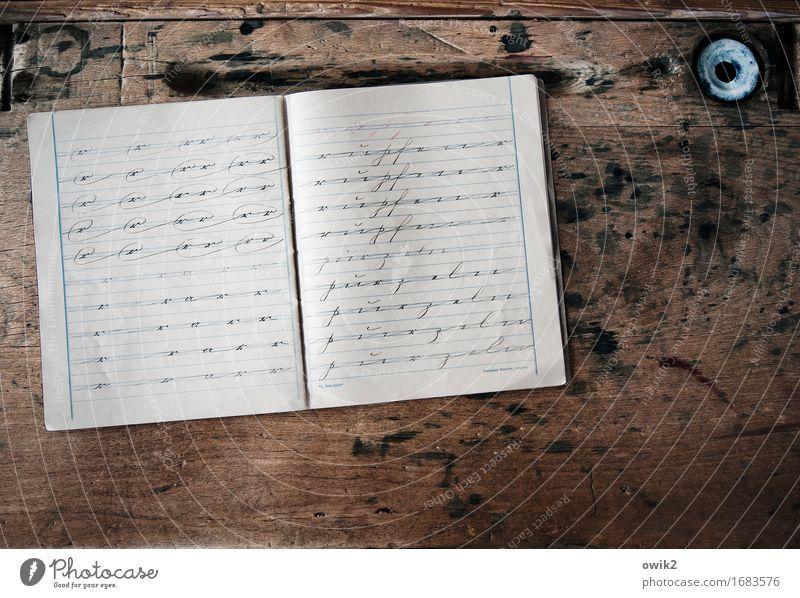 Damals wars Sammlerstück Schreibheft Schule Schulbank Holz liegen alt dünn authentisch historisch retro Sauberkeit gewissenhaft Weisheit klug Rechtschaffenheit