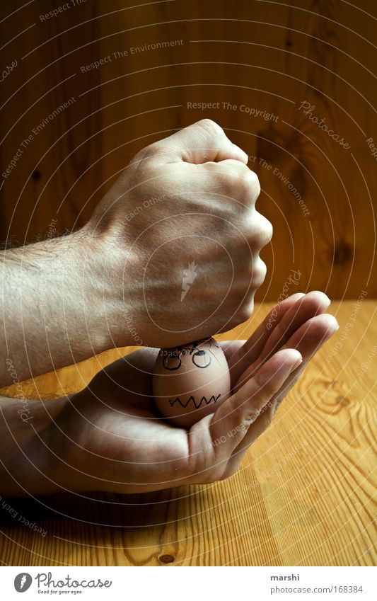weichgekloptes Ei Hand Gesicht Ernährung Gefühle Holz braun Kraft Angst lustig Lebensmittel Finger Tisch kaputt bedrohlich Appetit & Hunger Ei