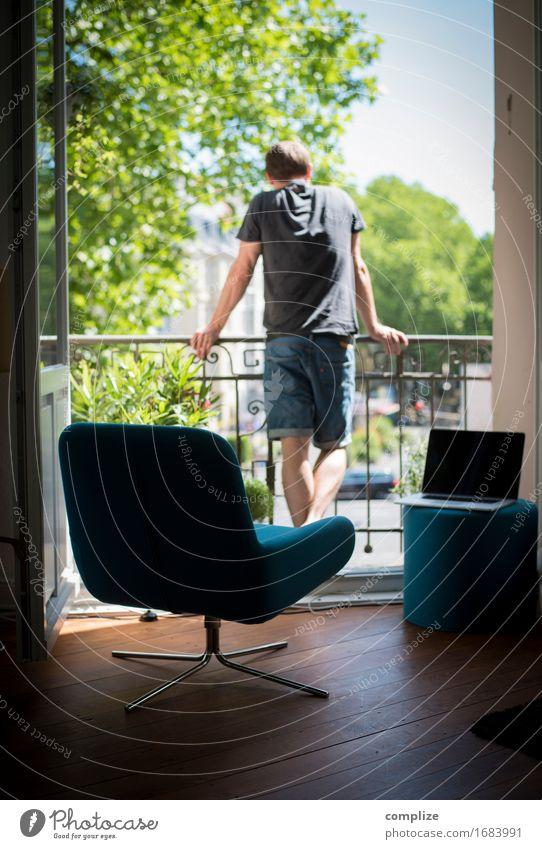 Sommer@Home Mann Baum Erholung ruhig Haus Freude Erwachsene Innenarchitektur Lifestyle Gesundheit Garten Wohnung Raum Häusliches Leben Freizeit & Hobby