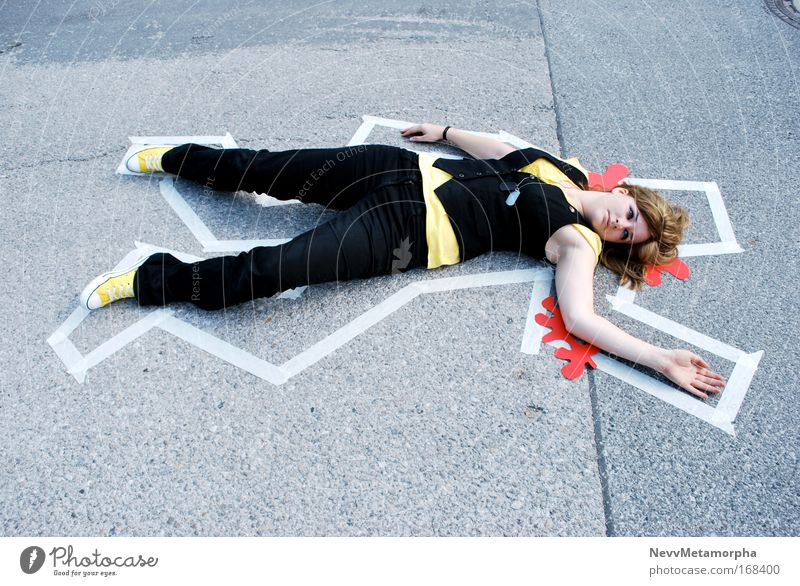 jap ... das wars schwarz gelb Straße Tod Schilder & Markierungen Blut Leiche Mensch