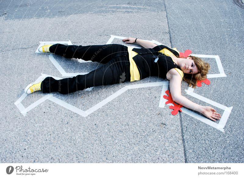 jap ... das wars Tod Blut Straße Schilder & Markierungen gelb schwarz Leiche