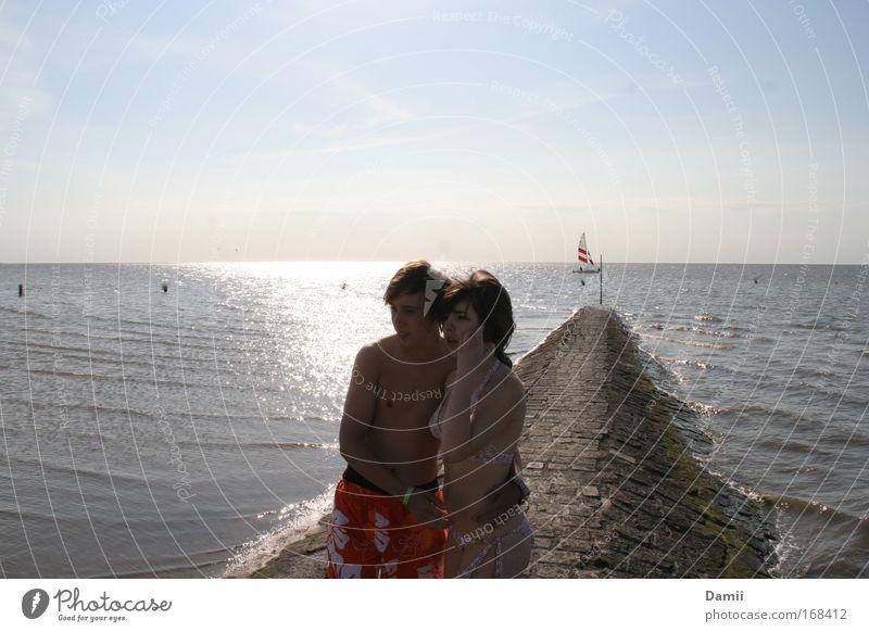 Da gings nicht weiter... Mensch Jugendliche Meer Ferien & Urlaub & Reisen Liebe Ferne Wasserfahrzeug Paar Horizont paarweise Vertrauen Lebensfreude Warmherzigkeit Neugier entdecken Bikini