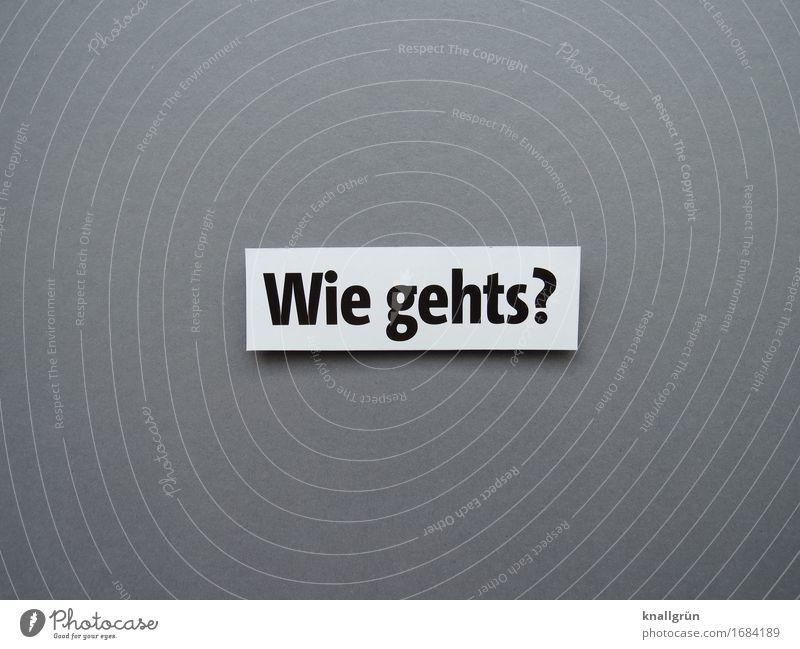Wie gehts? Schriftzeichen Schilder & Markierungen Kommunizieren eckig Neugier Klischee grau schwarz weiß Gefühle Sympathie Mitgefühl Freundlichkeit Interesse