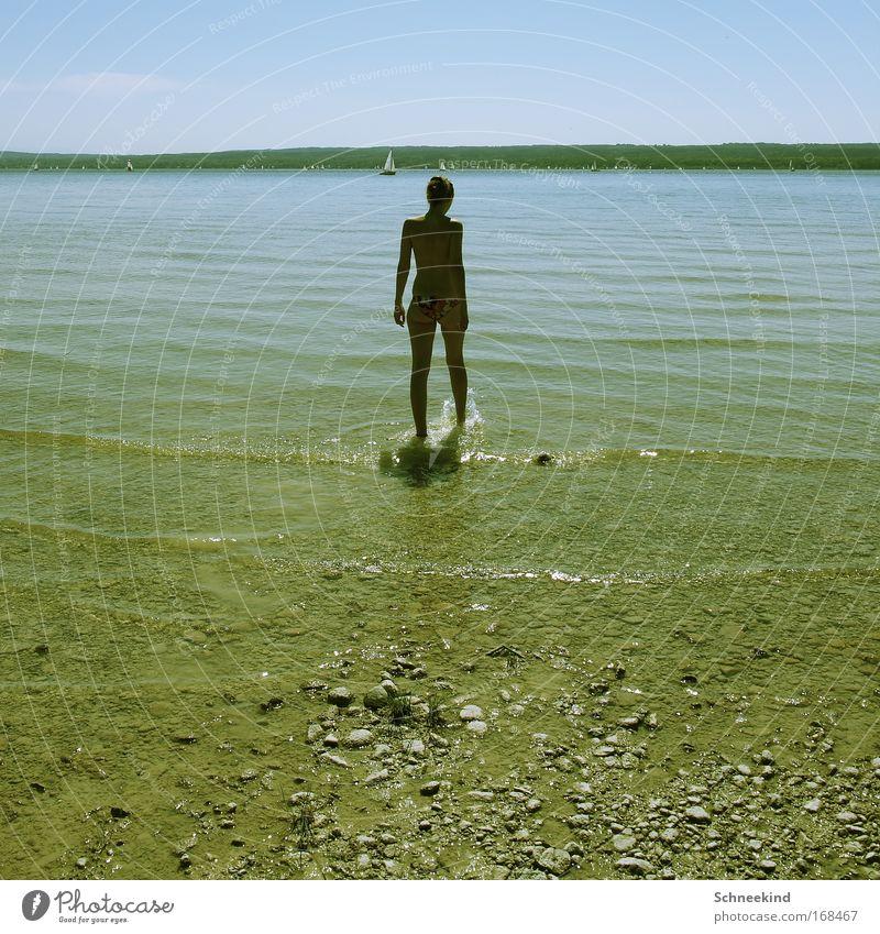 Sommer, Sonne, Badespaß! Mensch Himmel Natur Jugendliche Wasser Freude ruhig Erwachsene Erholung feminin Bewegung Glück See Zufriedenheit Rücken