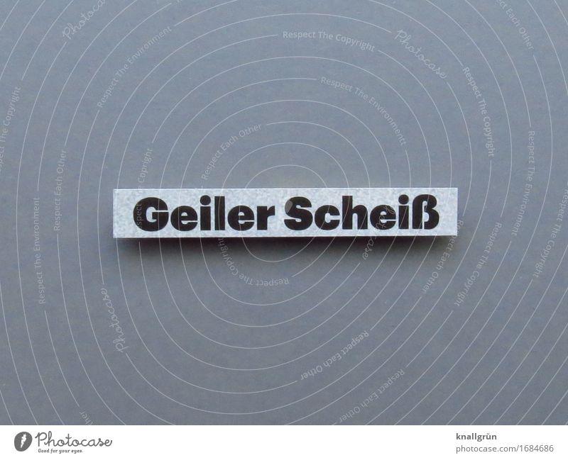 Geiler Scheiß Schriftzeichen Schilder & Markierungen Kommunizieren eckig grau schwarz weiß Gefühle Stimmung Laster Freude Lebensfreude Begeisterung Neugier