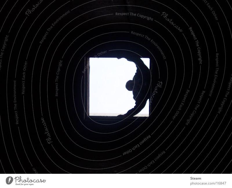 ...View... dunkel Fototechnik Schatten Blick Mensch Licht am Ende des Tunnels Dark