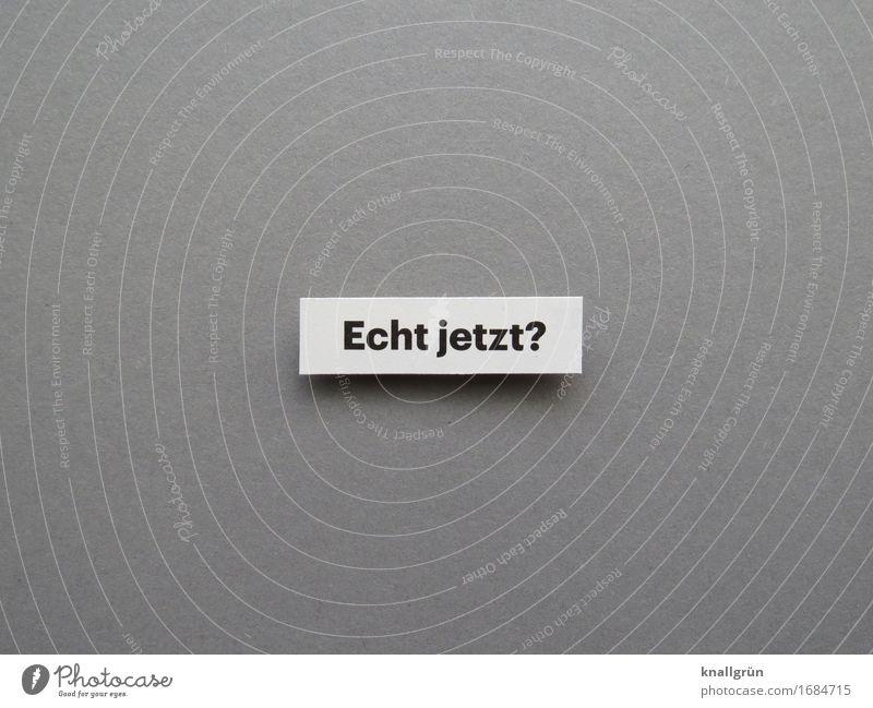 Echt jetzt? Schriftzeichen Schilder & Markierungen Kommunizieren eckig grau schwarz weiß Gefühle authentisch Neugier Interesse Überraschung Enttäuschung