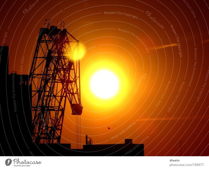 Abends im Hafen weiß Sonne rot schwarz gelb Güterverkehr & Logistik Sonnenuntergang Leiter stagnierend Kran Hafenstadt Lastkran Binnenschifffahrt