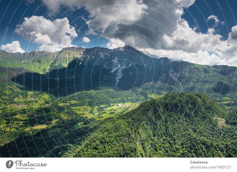 Überfliegen Himmel Natur Ferien & Urlaub & Reisen blau Pflanze Sommer grün weiß Landschaft Wolken Freude Wald Berge u. Gebirge Wiese Sport