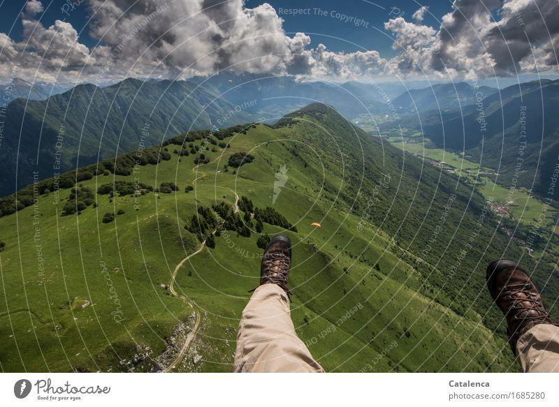 Bis zum Horizont Himmel Ferien & Urlaub & Reisen blau Sommer grün weiß Landschaft Wolken Freude Ferne Wald Berge u. Gebirge Wiese Beine fliegen braun