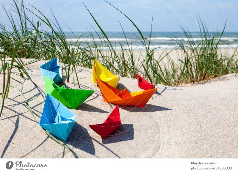 Sommerzeit Spielen Basteln Ferien & Urlaub & Reisen Sommerurlaub Strand Wellen Sand Wasser Wolkenloser Himmel Schönes Wetter Gras Nordsee Ostsee Meer