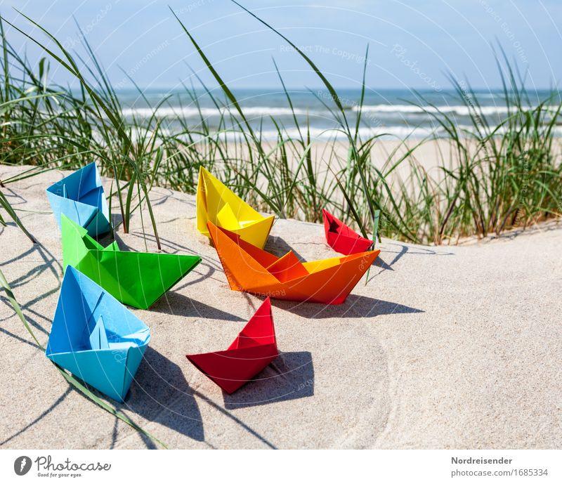 Sommerzeit Ferien & Urlaub & Reisen Wasser Sonne Meer Strand Spielen Sand Wellen Lebensfreude Schönes Wetter Papier Ostsee Fernweh Spielzeug Wolkenloser Himmel