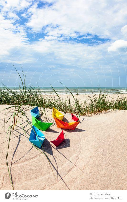 Sommerzeit Himmel Ferien & Urlaub & Reisen Wasser Sonne Meer Strand Gras Spielen Sand Lebensfreude Schönes Wetter Papier Ostsee Fernweh Spielzeug
