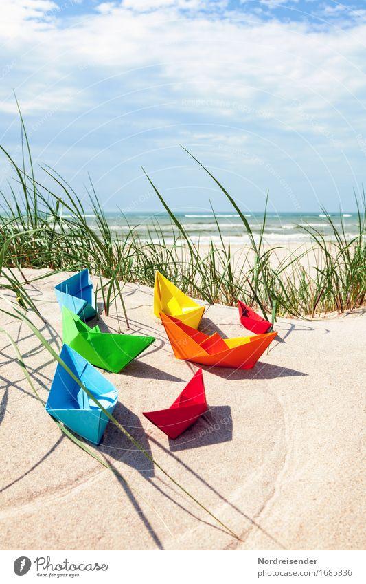 Sommerzeit Ferien & Urlaub & Reisen Wasser Sonne Meer Wolken Strand Gras Spielen Sand Lebensfreude Schönes Wetter Pause Ostsee Symbole & Metaphern Fernweh