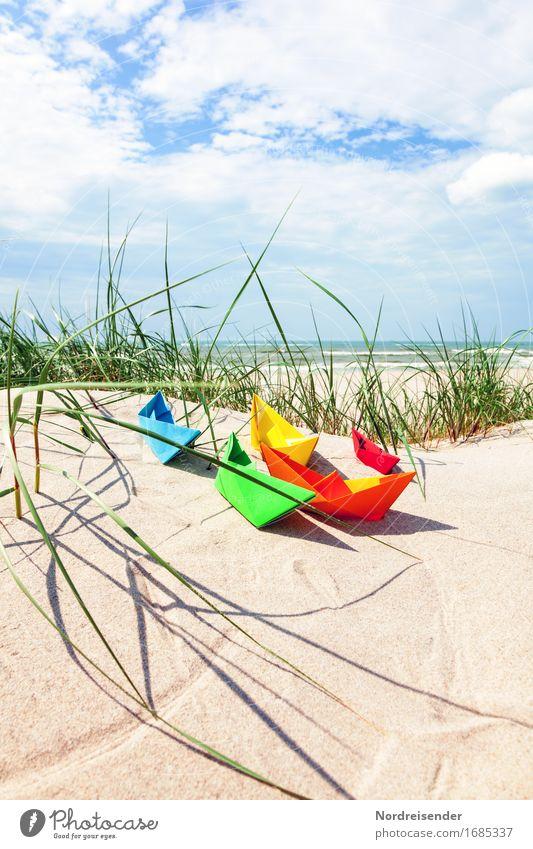 Sommerzeit Himmel Ferien & Urlaub & Reisen Sommer Sonne Meer Wolken Freude Strand Ferne Gras Spielen Freizeit & Hobby Lebensfreude Wellness Ostsee Symbole & Metaphern