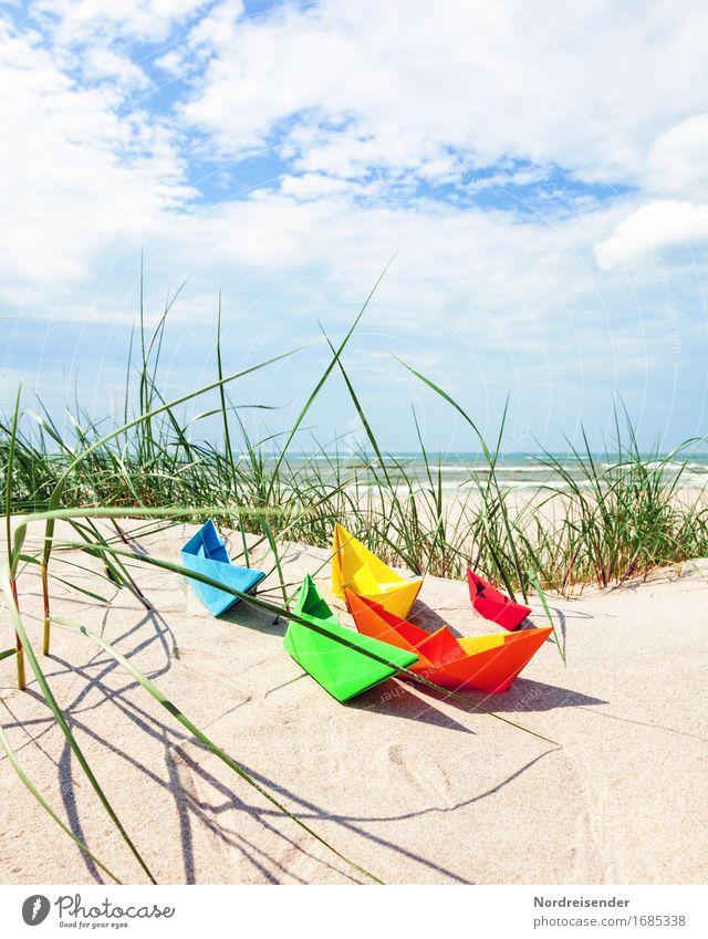 Sommerzeit Natur Ferien & Urlaub & Reisen Sonne Meer Landschaft Strand Gras Tourismus Freizeit & Hobby Lebensfreude Schönes Wetter Papier Ostsee Fernweh