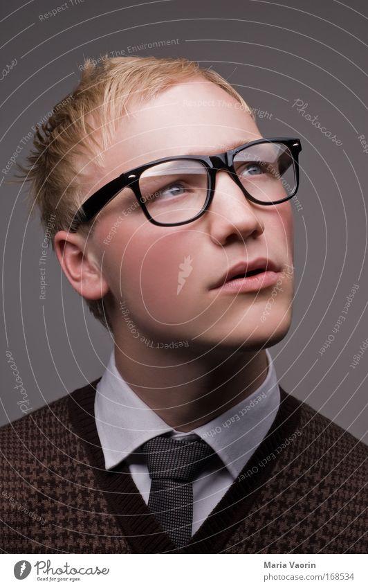 akurat Mensch Jugendliche Porträt Erwachsene Denken träumen Mann blond Mode Ordnung lernen Erfolg maskulin Studium Brille retro
