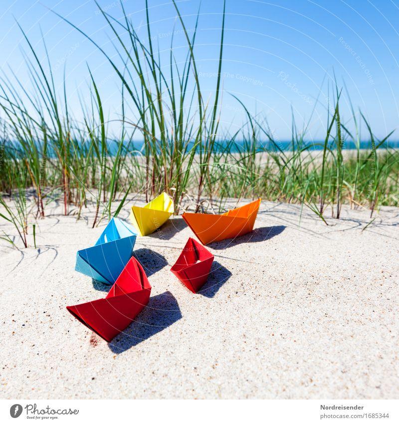Sommerzeit Ferien & Urlaub & Reisen Wasser Sonne Meer Strand Gras Spielen Sand Lebensfreude Schönes Wetter Papier Ostsee Symbole & Metaphern Spielzeug